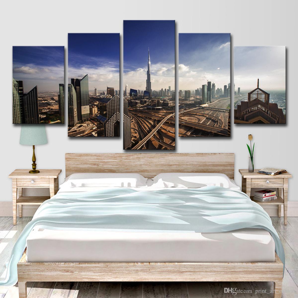 Современный пейзаж плакат HD печатных модульная Home Decor живопись 5 панель Dubai City Building холст стены искусства фотографии