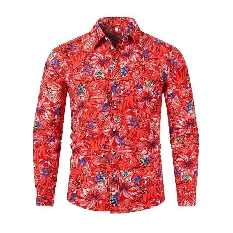 Camicie stampate risvolto collo monopetto maschile magliette Brird modello manica lunga Straight Boys Tees Primavera Mens floreale