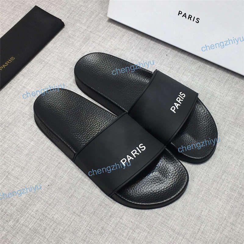 Top-Qualität Paris Sliders der Frauen Männer Sommer-Sandelholz-Strand Pantoffeln Damen Flip Flops Loafers Schwarz Weiß Rot Grün Slides Chaussures Schuhe
