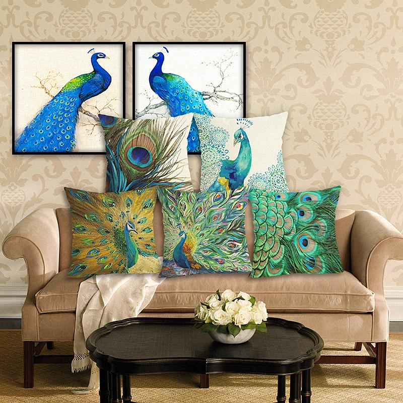 Yeni Ev Dekorasyonu Yastık Peacock Yastık Kapak Keten Yastık Kılıf Sandalye Koltuk Ev Dekorasyonu Yastık Kapak 45x45cm atın