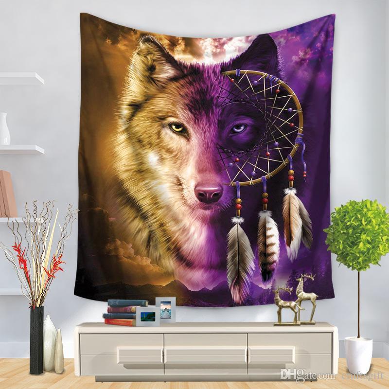 Animal Wolf Tapeçarias Pendurar Tapeçaria Tapeçaria Picnic Piquenique Quarto Sala de estar Pendurado Tapete Toalhas Home Têxtil Tapestria