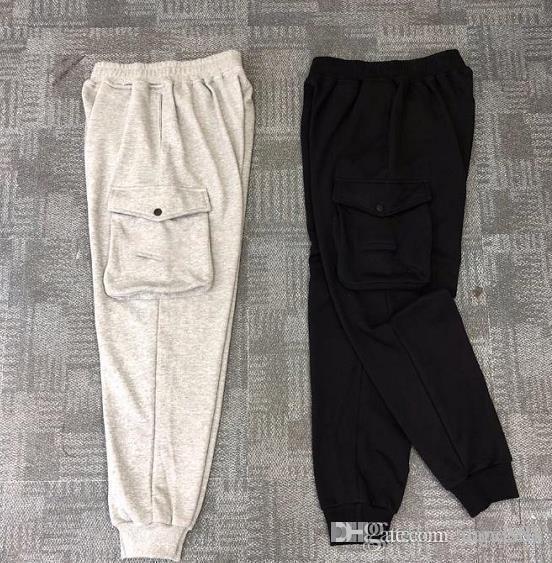 Mens fermeture éclair ceinture en coton sport pantalon décontracté BADGE grande poche décoration pantalon petits pieds taille M-XXL
