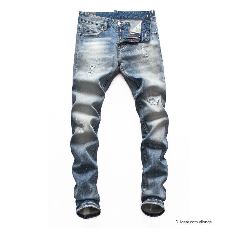 dsquared2 DSQ DS2 vaqueros para hombre del diseñador de lujo negro rasgado motorista flaco pantalones moto DSN10 vierte hommes hombres s denim hip hop rock revival de alta calidad