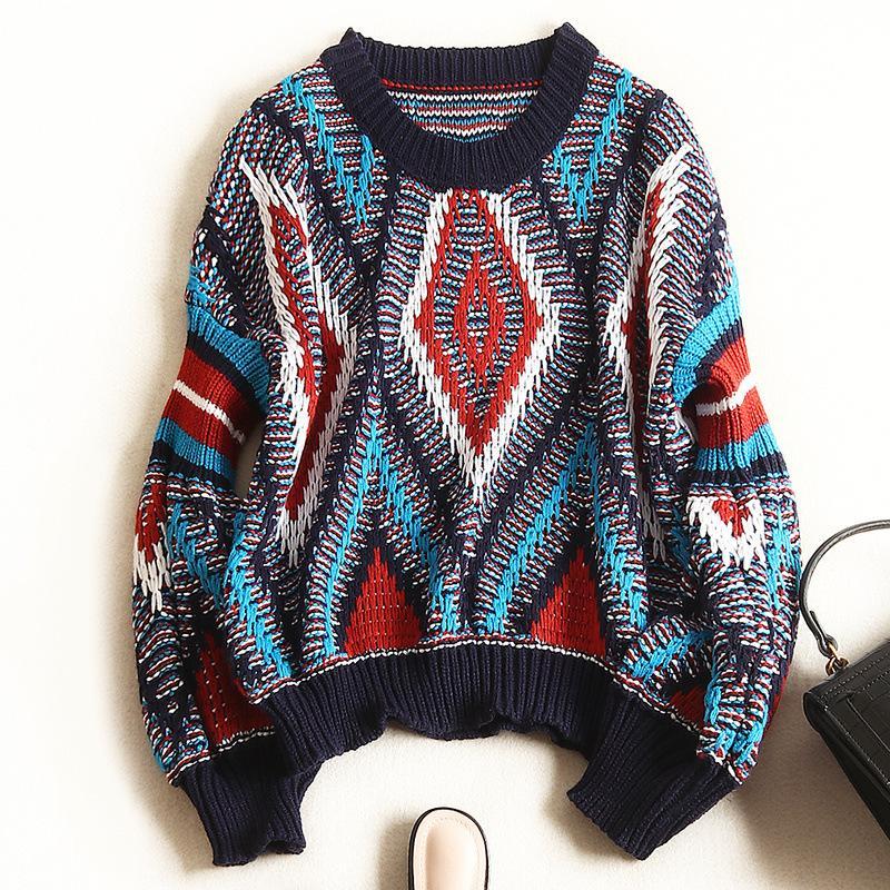 N14 2019 Осень Зима многоцветный плед печати трикотажные пэчворк пуловеры свитер с длинным рукавом круглый вырез мода свитера X10F366