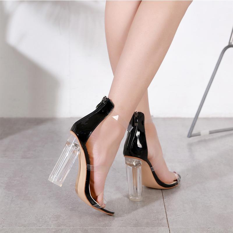 Venta caliente-sandalias para mujer tacones altos del tobillo con tiras claro Chunky transparente vestido sandalia zapatos de boda tamaño 35 a 40