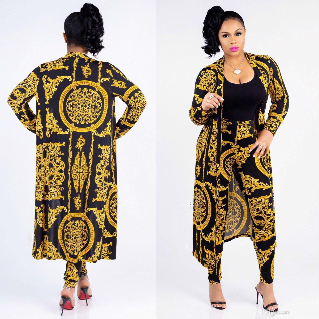 hot Designer New Fashion Classic Black Gold Print Large Size Cloak Sexy Slim Pants Ladies