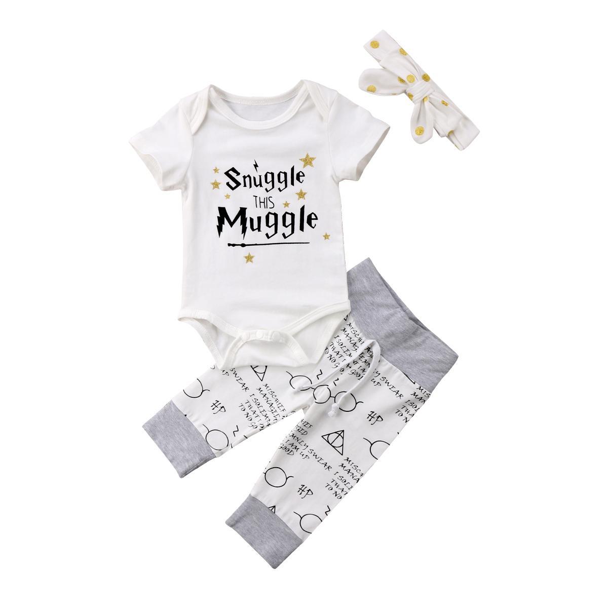 Bebê recém-nascido Crianças Meninos Meninas Cotton Romper Tops + calças compridas 2pcs Roupas de bebê Outfits Set