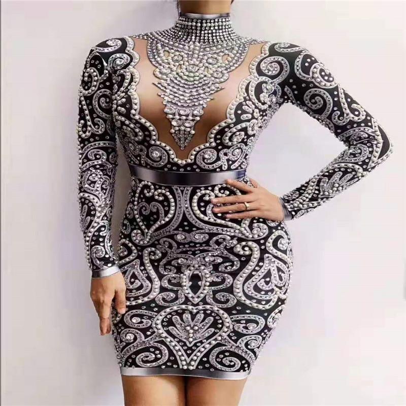 Y89 черный серый женский стразы жемчуг тощий платье с длинным рукавом srystals сумка хип платье сценический костюм одежда наряд диско dj шоу партия