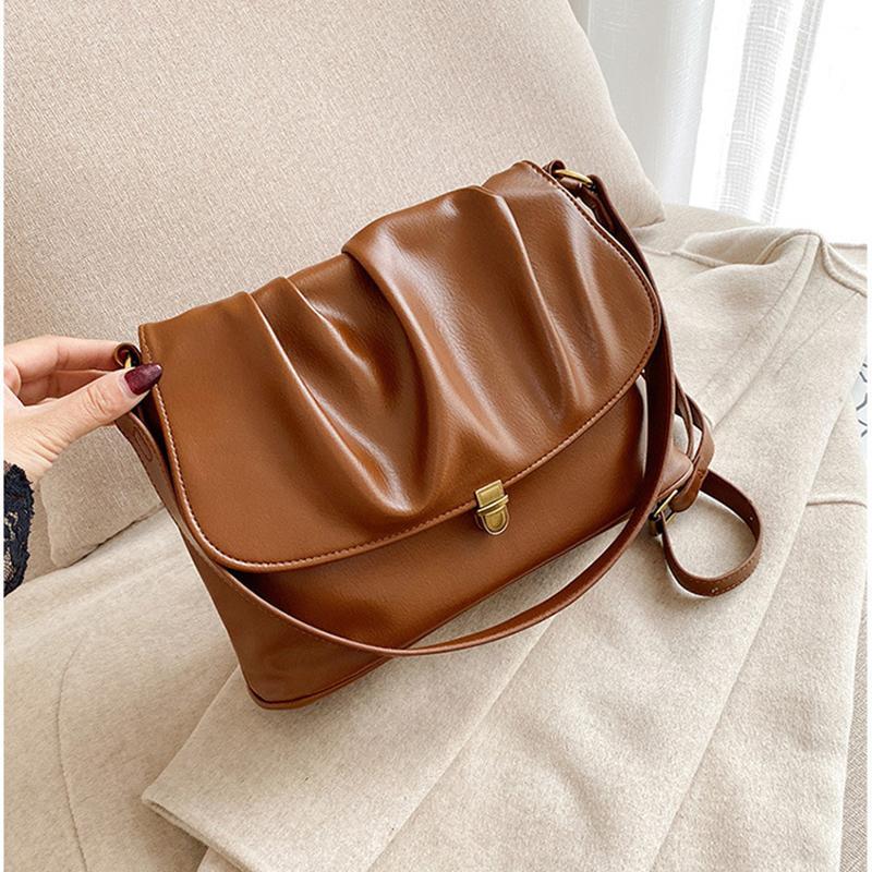 Vinatage bolsas de mensajero para las mujeres 2020 nuevo diseñador plisado hombro del bolso de cuero de gran capacidad manera de las señoras bolso de viaje