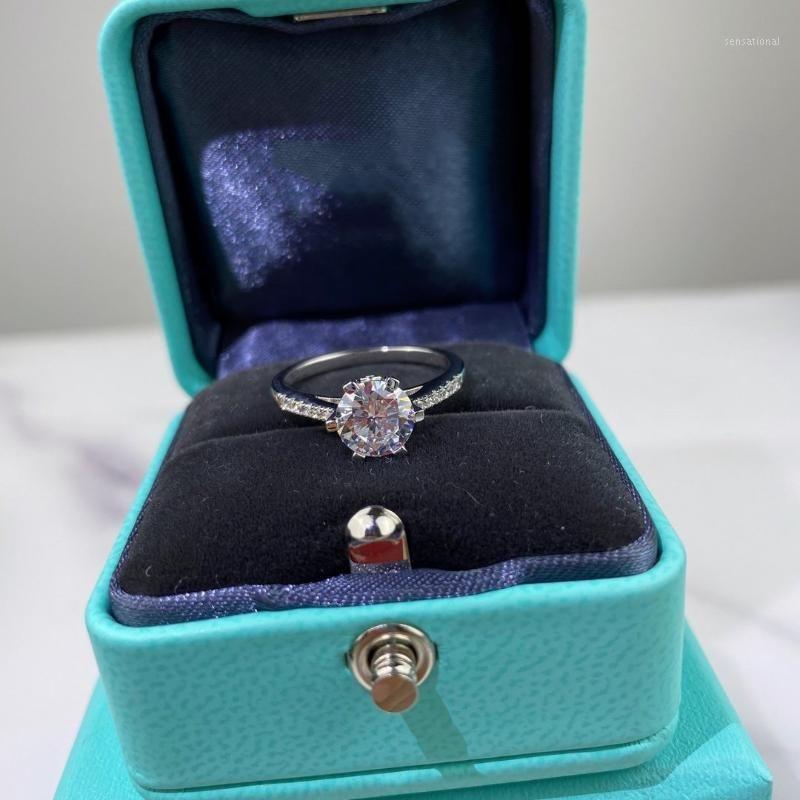 مصمم حلقة 925 الفضة خاتم الماس خواتم الزفاف إمرأة ستة وضع خاتم الماس أفضل الهدايا الجميلة Jewelry1