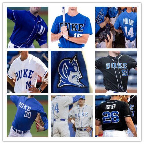 Custom Duke Blue Devils College Baseball 3 Chris Crabtree 7 Marcus Stroman 9 Griffin Conine Ryan Day Adam Laskey Jersey White Black S-4XL