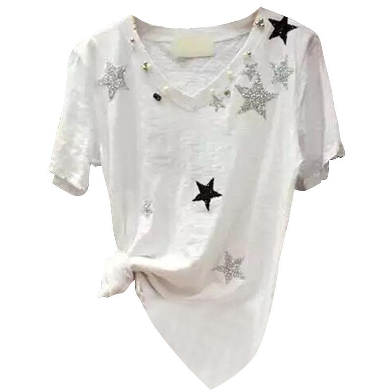 2020 estate e autunno nuova donna a maniche corte t-shirt femminile con scollo a V di bambù allentato Sweis cotone della camicia selvaggia camicia marea