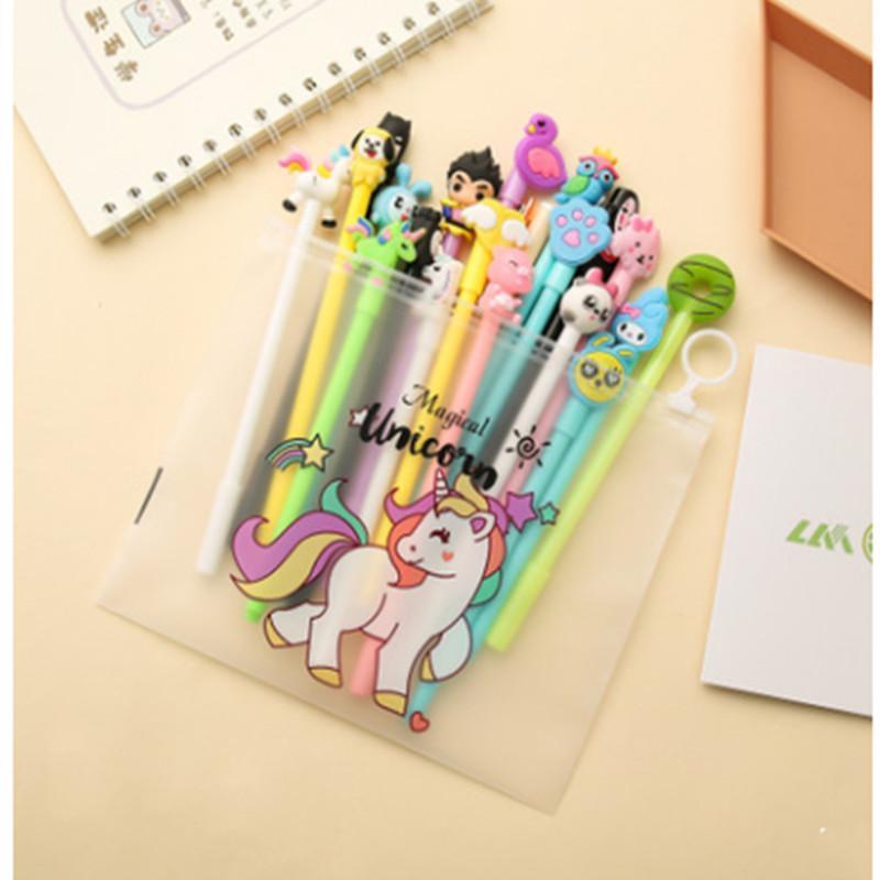 20 kalem set boynuzlu at kız kalp sevimli hayvan tasarım okul malzemeleri kırtasiye kalem
