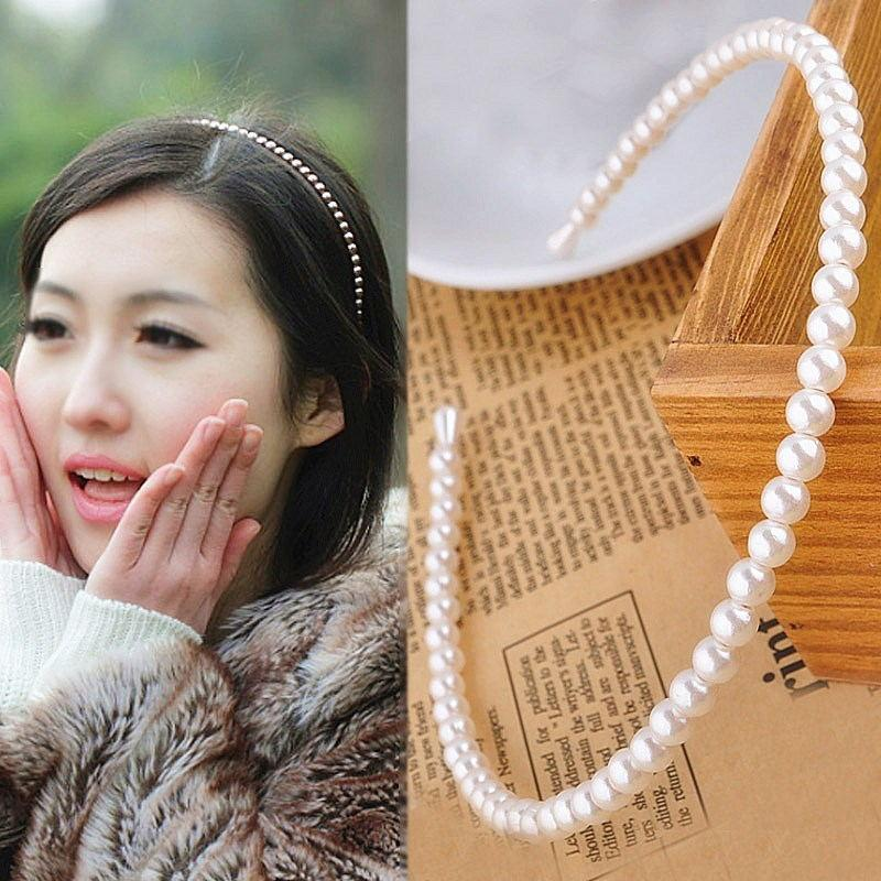 1PC Unique Hair Accessories Women Seaside Party Graceful Beautiful White Imitation Pearl Korean Headband Gifts Valentines Gift