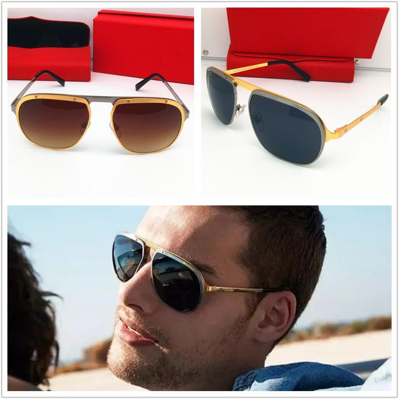 مصمم الأزياء الفاخرة معدن العلامة التجارية حملق النظارات الشمسية الرجال النساء نظارات الشمس الكلاسيكية موقف النظارات الشمسية الذهب مربع في الهواء الطلق النظارات الشمسية التفاف