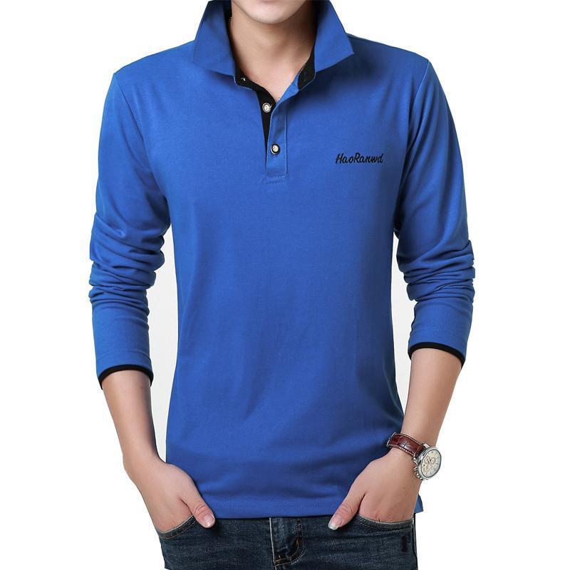 Camicie trendy Polo ricamata Reathable casual Polo Polo a maniche lunghe per gli uomini Slim Fit Kawaii Size 3XL