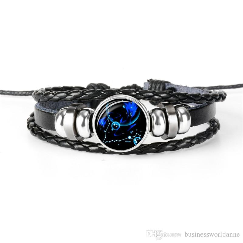 Multi Layer Leather Rope Beaded Bracelet for Men Women Customizable 12 Constellations Zodiac Pisces Time Gem Glass Cabochon Jewelry Pulseira