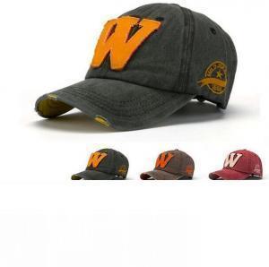 Embroidery Letter W Baseball Cap 7 Colors Men Women Snapback Bone Cowboy Sun Rain Party Hats OOA6221