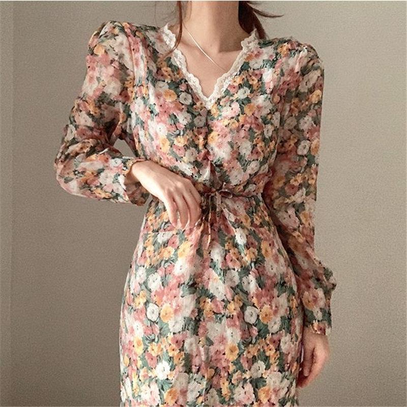 HziriP 2020 Casual Robes longues en mousseline de soie d'été Chic en vrac doux Streetwear V-Neck Lace Floraux Hot femmes Robes longues Robes