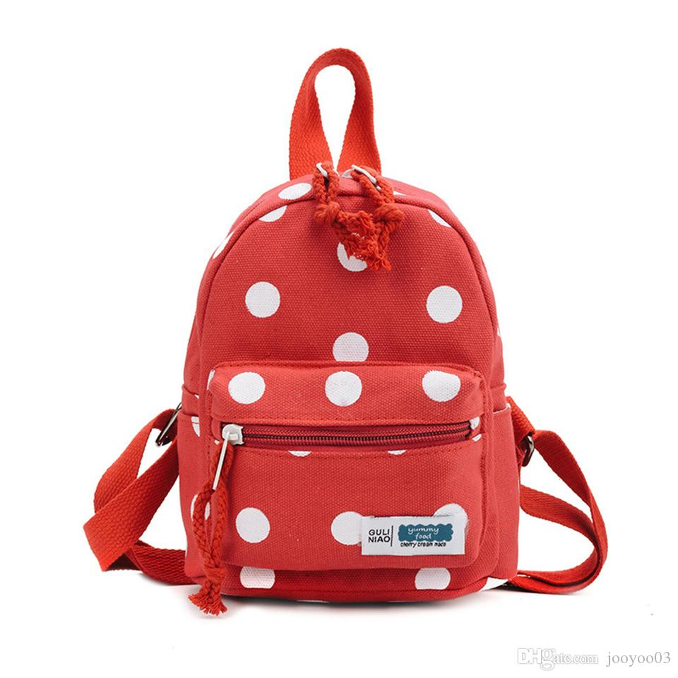 Fashion Wild Children's Polka Dots Shoulder Bags Trendy Personality Cute Outdoor Traveling Canvas Backpacks Casual Multi Colors Backpacks