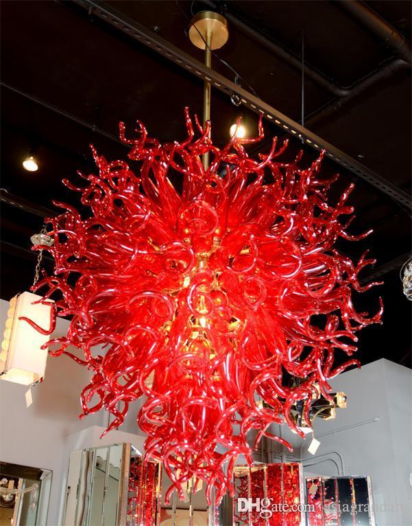 CE UL 붕규산 무라노 유리 데일 치 훌리 (Dale Chihuly) 예술 광택 레드 유리 빛 침실 크리스탈 샹들리에 풍선 100 % 입