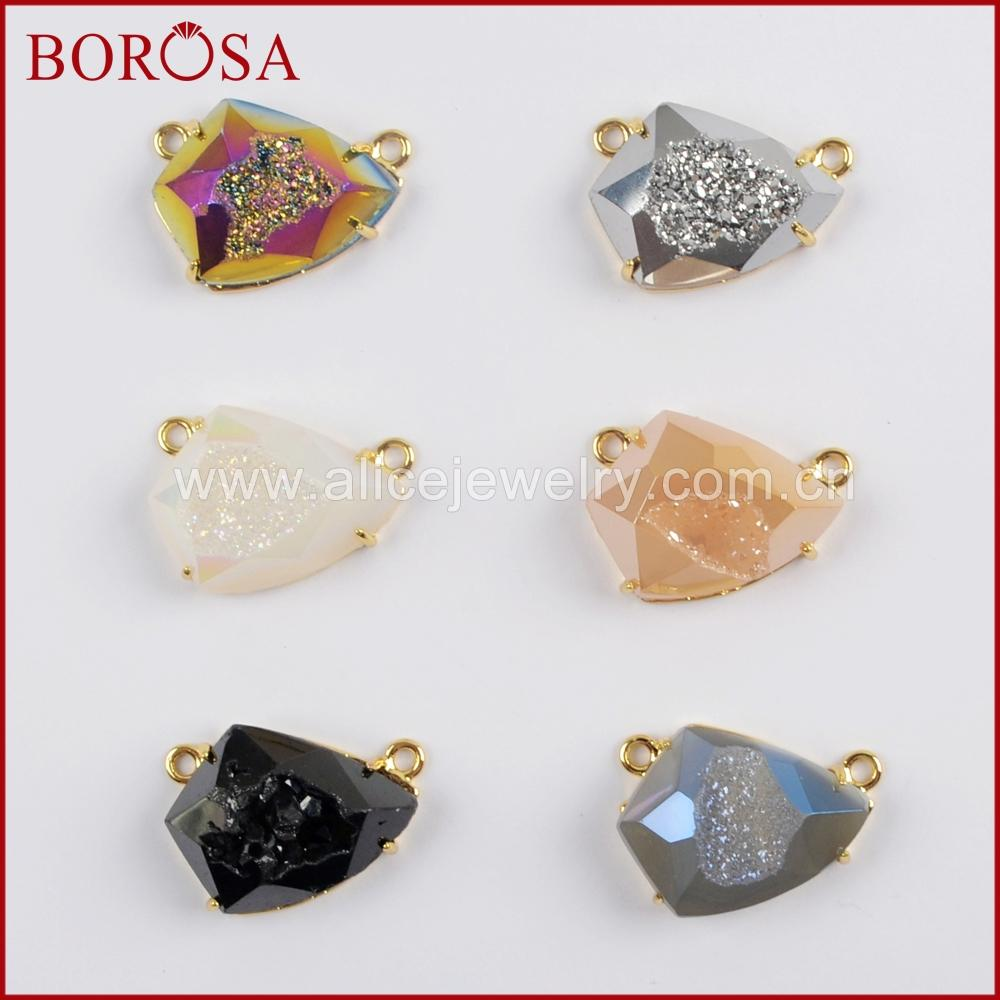 BOROSA 5/10PCS Gold Color Bezel Claw Shield Shape Rainbow Titanium Druzy Faceted Drusy Connector for Necklace Jewelry ZG0333