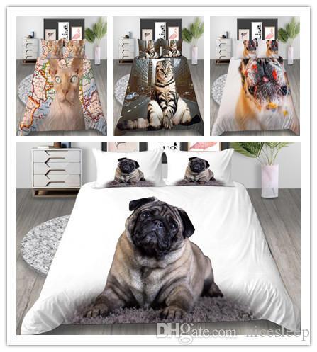 3D animal del animal doméstico lecho de la impresión de la venta caliente Establece la ropa de cama Textiles para el hogar Soft establece entre semana regalos para las niñas / niños / adultos 2/3 funda de almohada