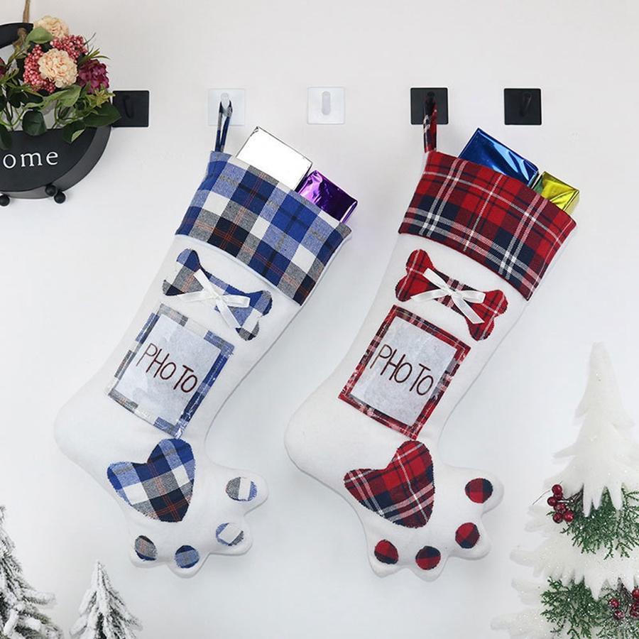 Fashion chien Paw Noël Stocking mignon arbre de Noël Chaussettes d'ornement de Noël Noël Bas de bonbons sac à cadeau Accueil Partie décorative TTA1618