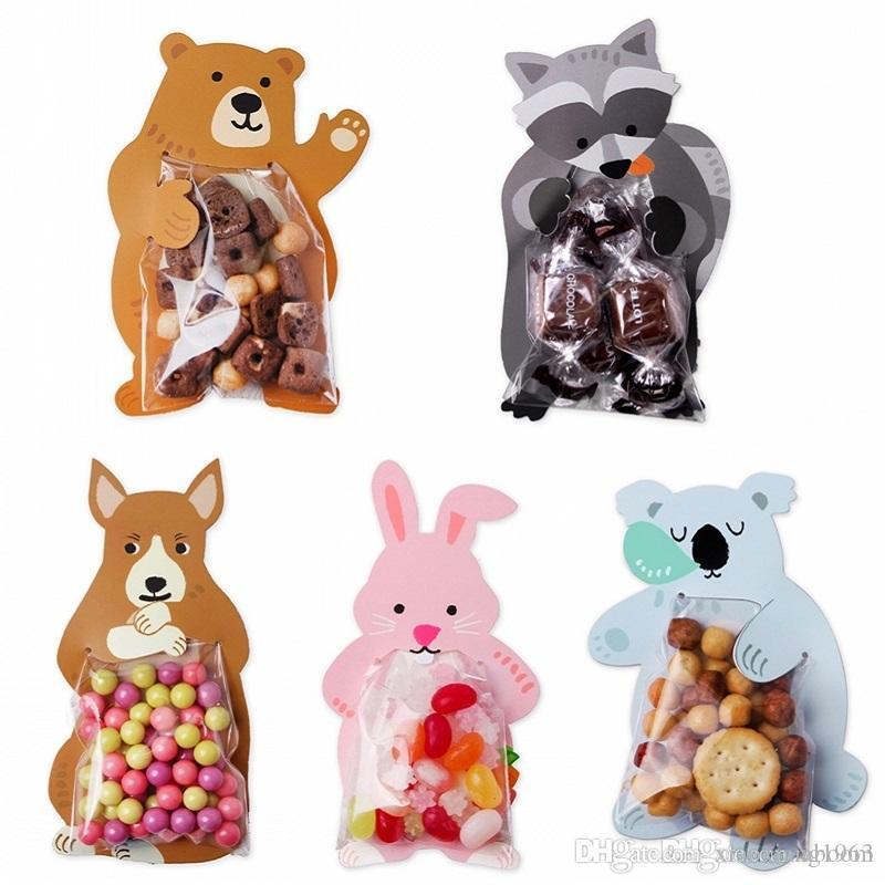 10pcs / lot animales lindas del regalo bolsas de dulces Bolsas de bienvenida al bebé de la fiesta de cumpleaños de galletas Bolsas Oso caja del caramelo tarjetas de felicitación del conejo populares