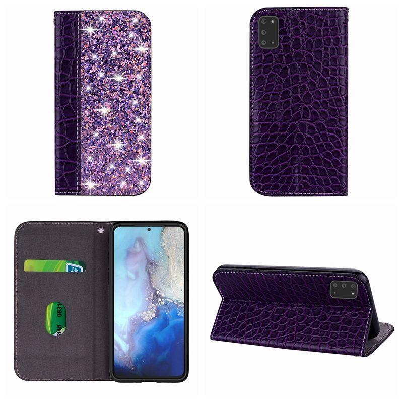 Leder-Mappen-Kasten für Samsung S20 Ultra-S20 Plus-A71 A51 A01 Croco Krokodil Bling Funkeln-Halter Sparkle Hybrid saugen Abdeckungs-Beutel Luxus