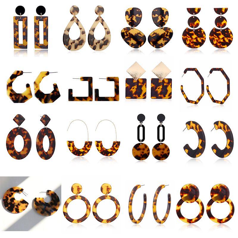 New Tortoise Color Leopard Impressão Acrílico Folha de Ácido Acídico Círculo Geométrico Círculo Quadrado Longo Gota Brincos Quente Animal Ear Stud For Women