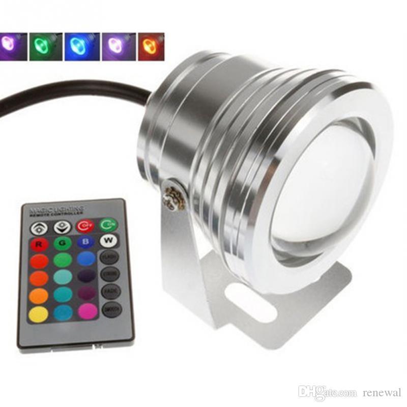 10W 12V RGB подводный светодиодный прожектор CE / RoHS IP68 950lm 16 цветов меняется с пультом дистанционного управления для украшения Фонтанного бассейна