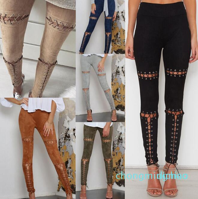 Pantalons simple Suede Pantalon en cuir Slim Fit Bandage élégant Mode Pantalons Vêtements