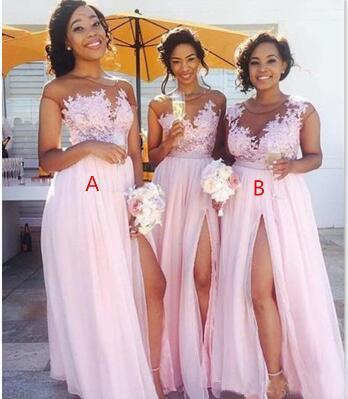 2020 Sexy sheer Jewel neck lace appliques maid of honor dresses split formal evening gowns wear Cheap Country blush pink bridesmaid dresses