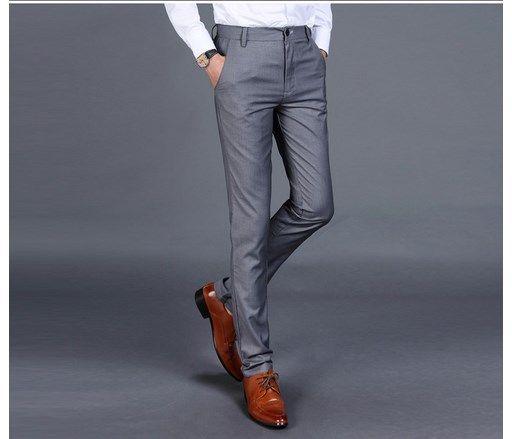 2019 Moda Uyarlanmış Mens Slim Fit Suit Pantolon Yüksek Kalite Erkekler Rahat Pantolon Iş Resmi Erkek Pantolon