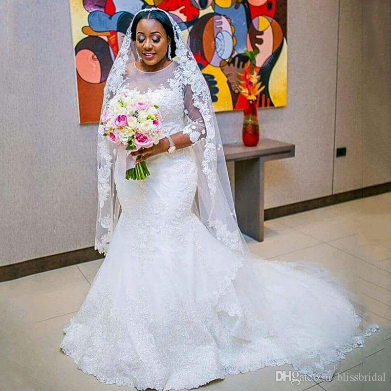Long Sleeves Mermaid Arfain Arabic Wedding Dresses Plus Size Sheer Neck Long Lace Bridal Wedding Gowns Zipper Back Sweep Train