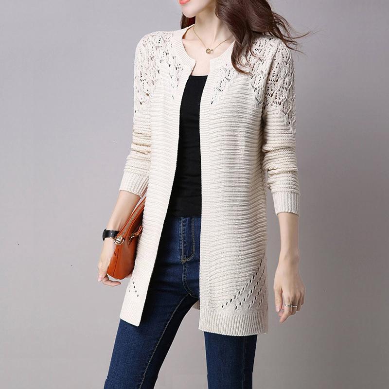 여성 가디건 여성용 스웨터 솔리드 컬러 중공 아웃 스웨터 S 사이즈 외투의 일종 전체 슬리브 열기 스티치 여성 롱 니트 겉옷 가을
