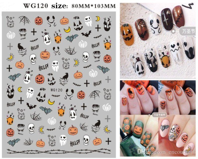 예술 새로운 디자인 할로윈 플라스틱 스티커 호박 네일 스티커 악마 해골 네일 스티커 WG117-122 네일