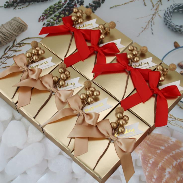2020 뉴 럭셔리 황금 선물 상자 결혼식 호의 홀더 케이크 초콜릿 리본 캔디 박스