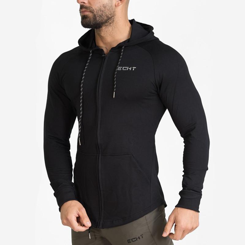 Men's Hoodies & Sweatshirts Autumn Mens Cotton Sweatshirt Gyms Fitness Bodybuilding Hoodie Male Casual Fashion Slim Hooded Zipper Jacket Top
