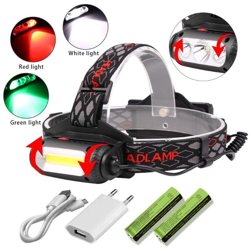 Mini COB LED Headlamp 8Modes T6 Red/ green /white light Waterproof Headlight Head Torch Lantern Outdoor Camping Night