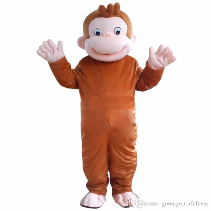 High quality hot Curious George Monkey Mascot Costumes Cartoon Fancy Dress Halloween Party Costume Adult Size