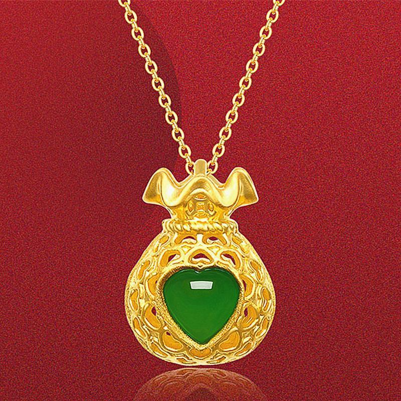 تصميم الأزياء القلب اليشم الأخضر القلائد الأحجار الكريمة الزمرد قلادة للنساء 14K الهدايا الحزب لون الذهب قلادة المجوهرات بيجو