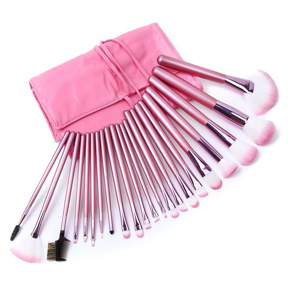 22pcs 핑크 메이크업 브러쉬 세트 파운데이션 파우더 블러셔 윤곽 아이 섀도우 미용 화장품 브러쉬 키트 도구 및 가방 메이크업