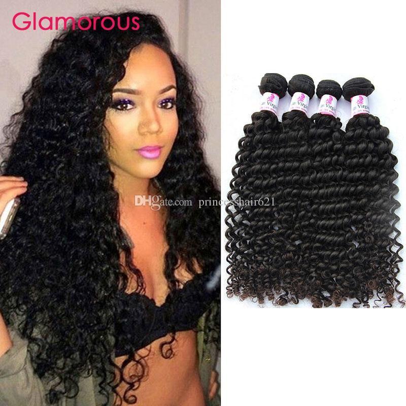 Glamorous Malaysian Hair Tece 4 pcs 8-34inches cor natural onda profunda cabelo tecer de boa qualidade Brazilian Peruano Indian Virgin Humano cabelo