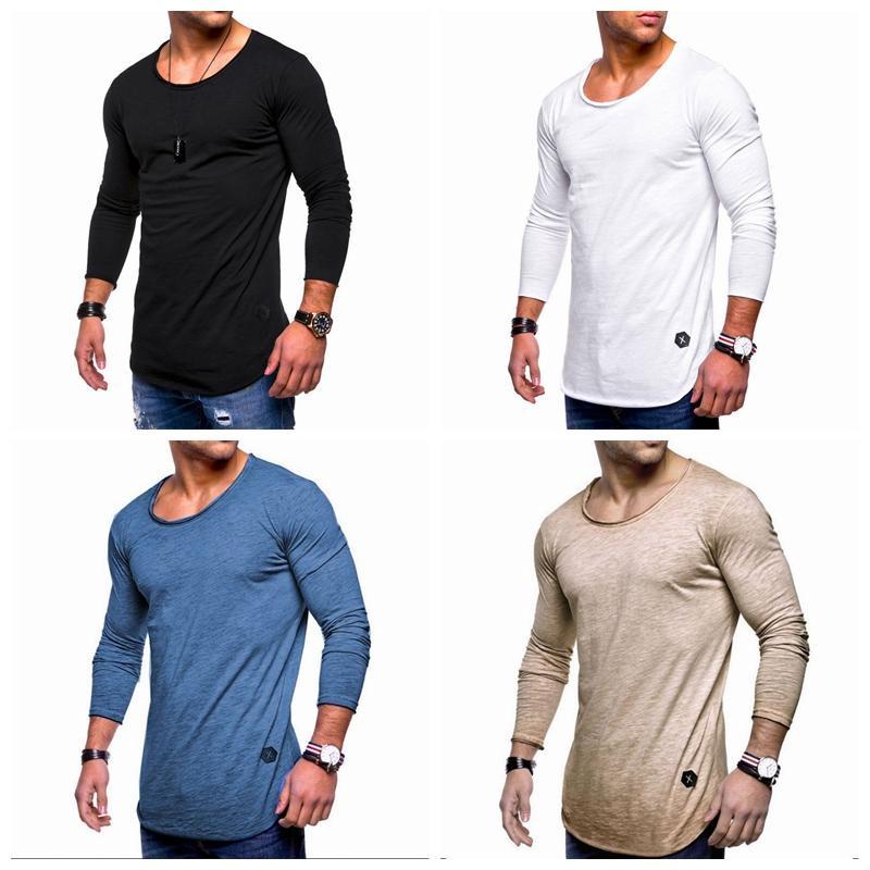 THEFOUND 2019 новый повседневный топ мужской футболки тонкий o-образным вырезом с длинным рукавом мышцы футболка Футболка повседневный блузка топы горячая