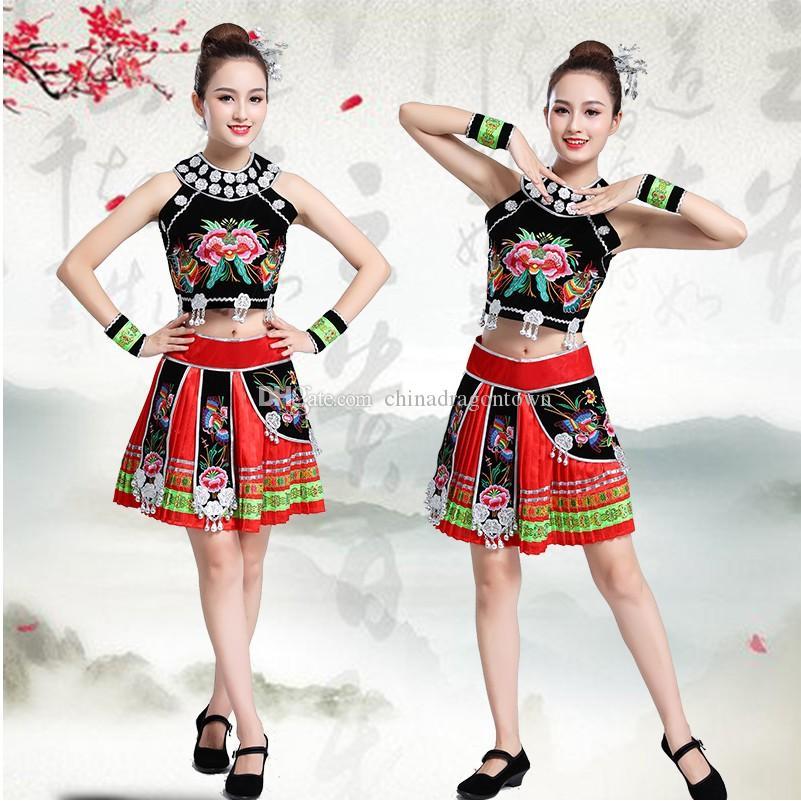 Klassische traditionelle Tanzkostüme für Frauen Ethnische Miao Tanz Bühne tragen Hmong Kleidung nationalen Festival Partei Kleidung
