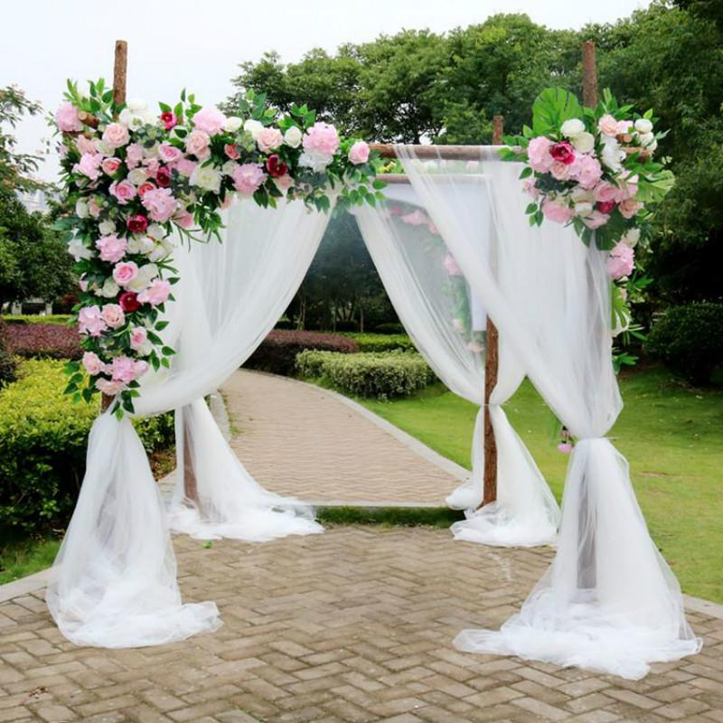 1.5*6M Solid Color Terylene Fabric Wedding Arch Draping Fabric Voile Arbor Drapes for Outdoor Wedding Ceremony Party Curtains