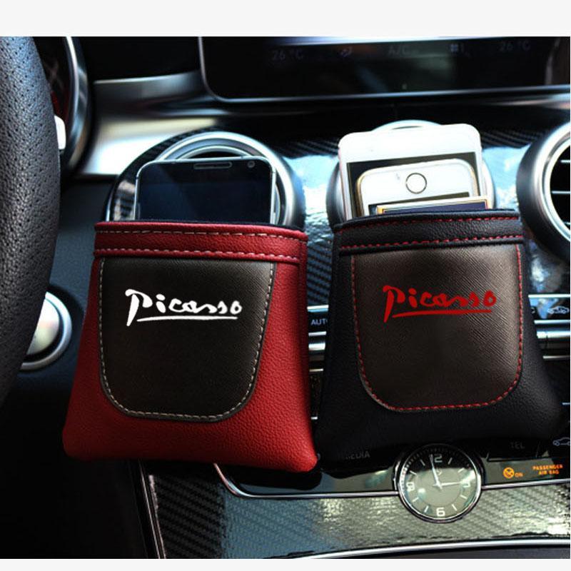 Clip sobre saída de ar Carro Air Vent Stow Tidy armazenamento Pu Leather Bag Coin Caso Bag Car Phone Holder Para Xsara C4 C3 Picasso