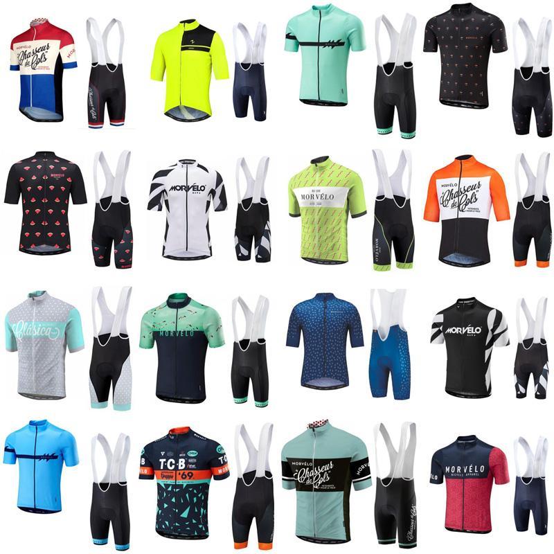 2019 Summer Morvelo ciclo Jersey de manga corta de la camisa del babero el ciclismo de los cortocircuitos fijados bicicleta del camino transpirable Ropa Ropa Ciclismo dtmall
